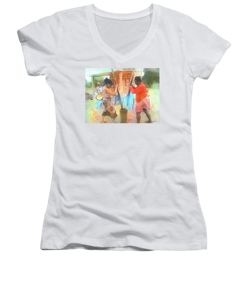 Caribbean Scenes - Mortar And Pestle In De Country Women's V-Neck T-Shirt