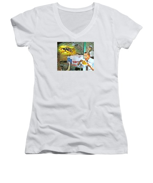 Women's V-Neck T-Shirt (Junior Cut) featuring the painting Caribbean Scenes - Obama Eats Doubles In Trinidad by Wayne Pascall