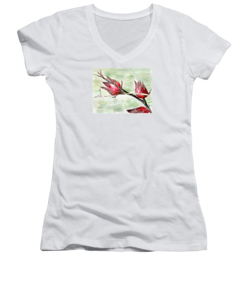 Caribbean Scenes - Sorrel Plant Women's V-Neck T-Shirt (Junior Cut)
