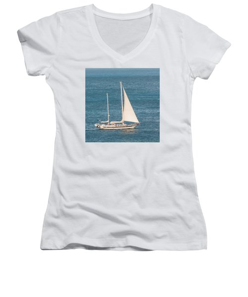 Women's V-Neck T-Shirt featuring the photograph Caribbean Scooner by Gary Slawsky