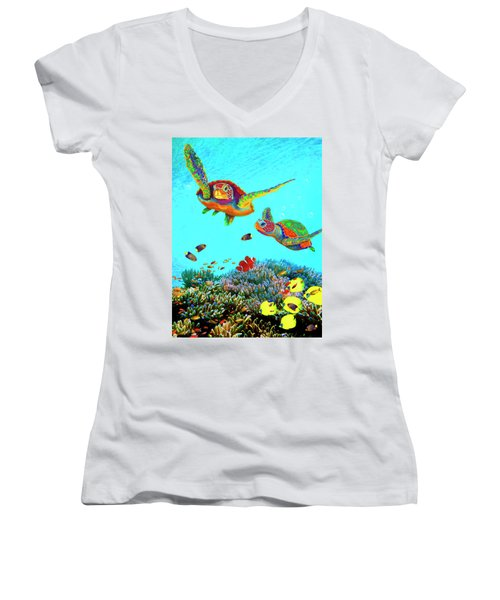 Caribbean Sea Turtles And Reef Fish Vertical Women's V-Neck