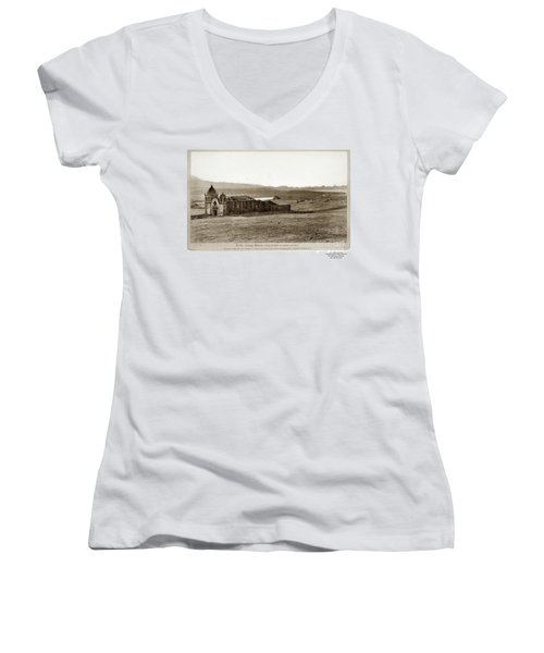 Carmel Mission, With Glimpse Of River And Bay Circa 1880 Women's V-Neck