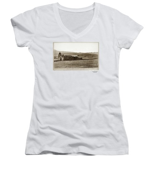 Carmel Mission, With Glimpse Of River And Bay Circa 1880 Women's V-Neck (Athletic Fit)