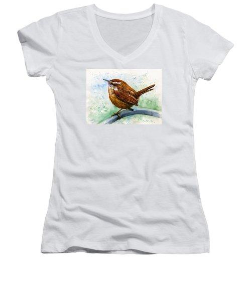Carolina Wren Large Women's V-Neck T-Shirt (Junior Cut) by John D Benson