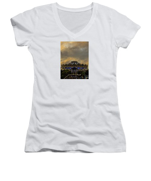 Carousel By The Eiffel Tower Women's V-Neck T-Shirt (Junior Cut) by Jean Haynes
