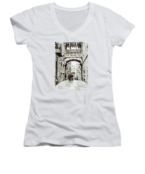 Carrer Del Bisbe - Barcelona Black And White Women's V-Neck T-Shirt (Junior Cut) by Marian Voicu