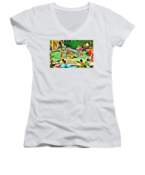 Carribean Scenes - Calypso And Limbo Women's V-Neck T-Shirt (Junior Cut)
