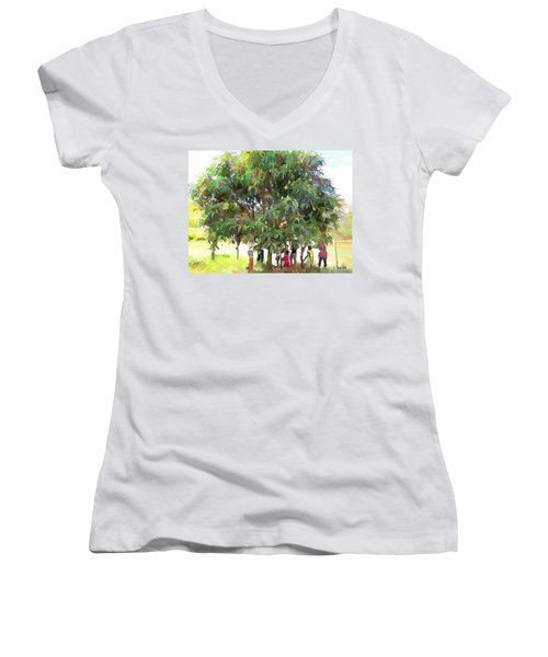 Carribean Scenes - Under De Mango Tree Women's V-Neck T-Shirt (Junior Cut)