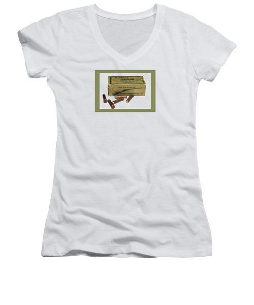 Cartridges For Rifle Women's V-Neck T-Shirt (Junior Cut) by Susan Leggett