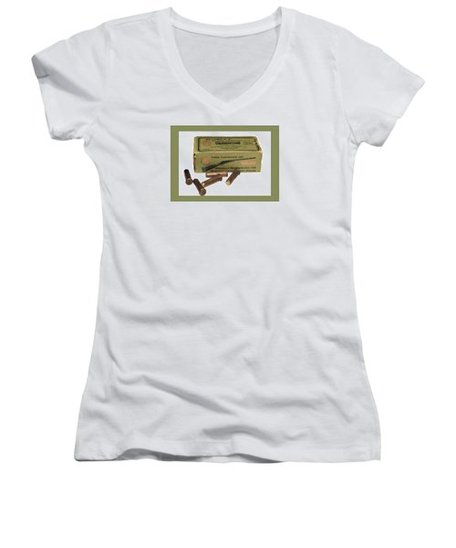Cartridges For Rifle Women's V-Neck (Athletic Fit)