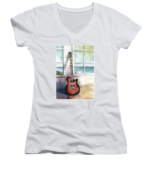 Women's V-Neck featuring the painting Carvin Electric Guitar by Andrew King
