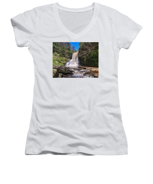 Cascade Falls In Spring Women's V-Neck