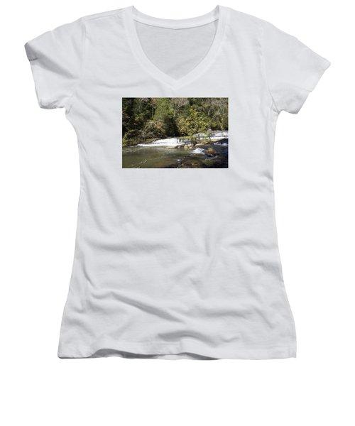 Cascade Falls Women's V-Neck T-Shirt (Junior Cut) by Ricky Dean