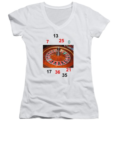 Casino Roulette Wheel Lucky Numbers Women's V-Neck T-Shirt