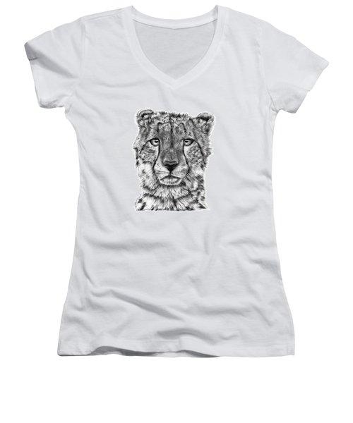 Cassandra The Cheetah Women's V-Neck T-Shirt (Junior Cut) by Abbey Noelle