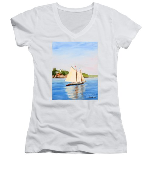 Castine Harbor And Dice Head Light Women's V-Neck