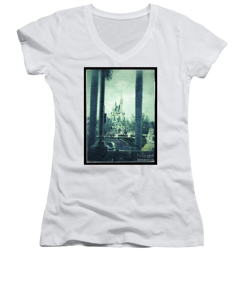 Castle Between The Palms Women's V-Neck T-Shirt (Junior Cut) by Jason Nicholas