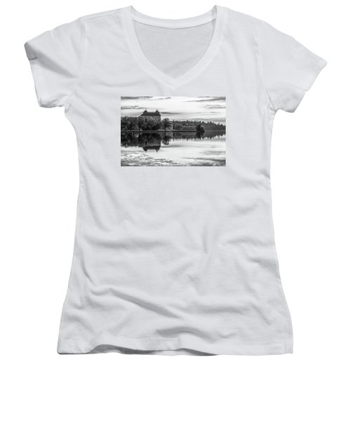 Castle In Black And White Women's V-Neck T-Shirt
