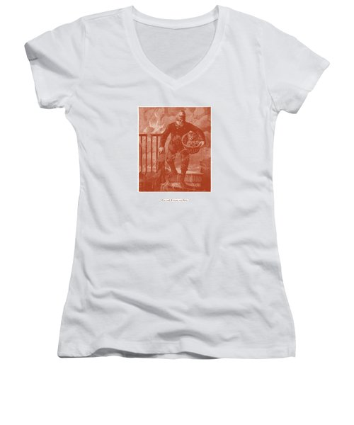Cat And Kittens Are Safe Women's V-Neck T-Shirt (Junior Cut) by David Davies