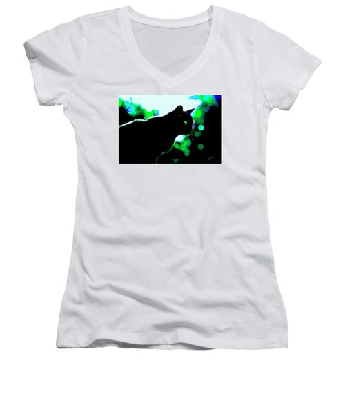 Cat Bathed In Green Light Women's V-Neck T-Shirt (Junior Cut) by Gina O'Brien