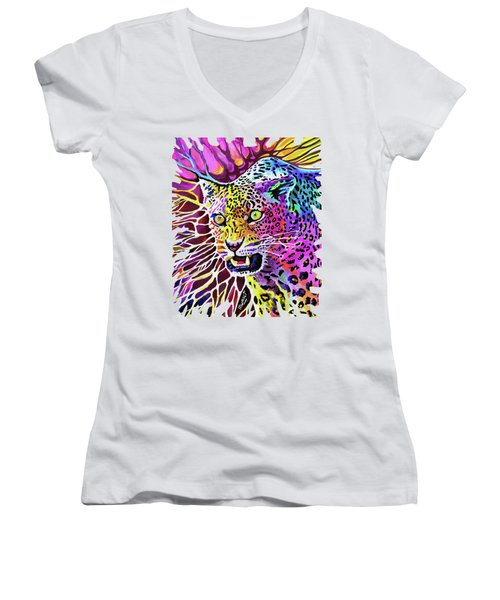Cat Beauty Women's V-Neck T-Shirt (Junior Cut) by Anthony Mwangi