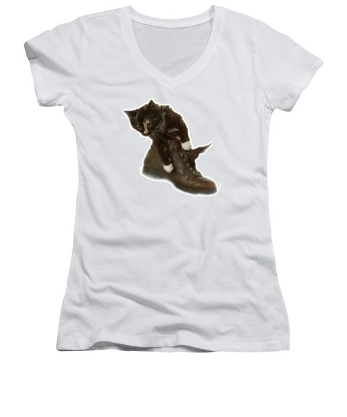 Cat In Boot Women's V-Neck