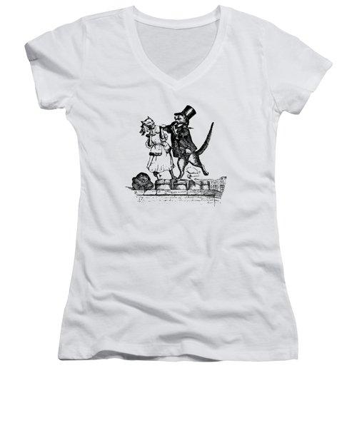Cat Love Grandville Transparent Background Women's V-Neck (Athletic Fit)