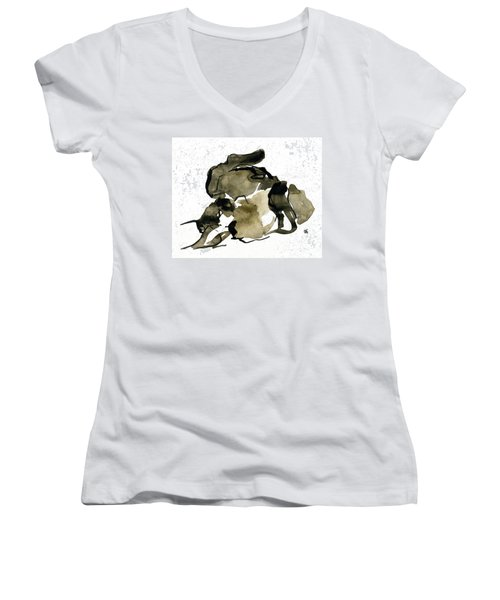 Cat Nap - 2 Women's V-Neck T-Shirt (Junior Cut) by Shirley Heyn