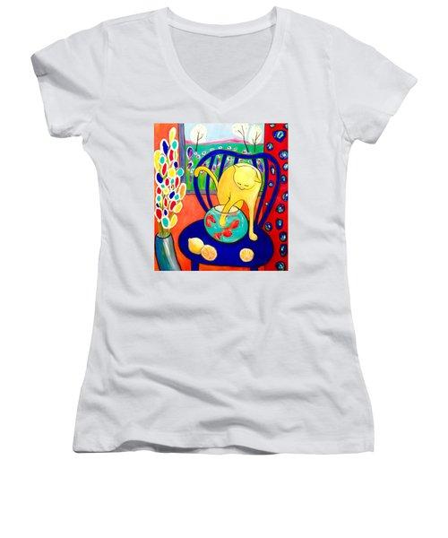 Cat - Tribute To Matisse Women's V-Neck