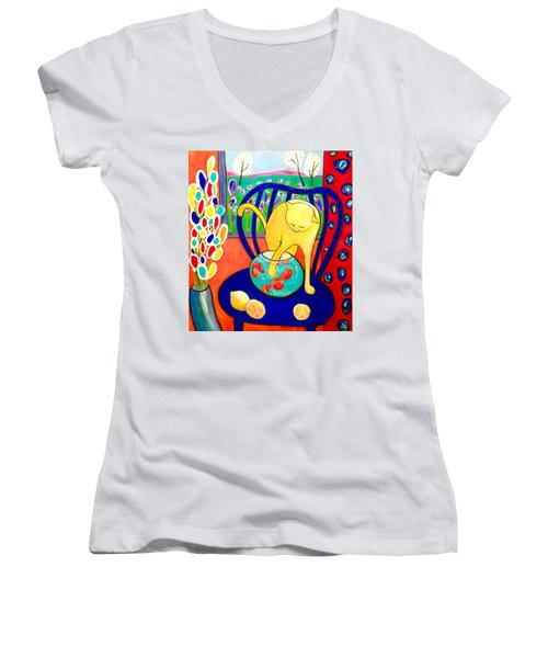 Cat - Tribute To Matisse Women's V-Neck (Athletic Fit)