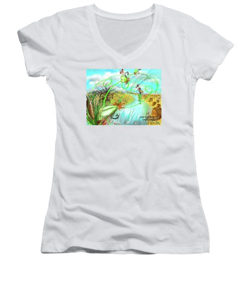 Catails And Flys Women's V-Neck T-Shirt