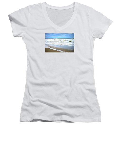 Catch A Wave Women's V-Neck T-Shirt (Junior Cut) by Shelia Kempf