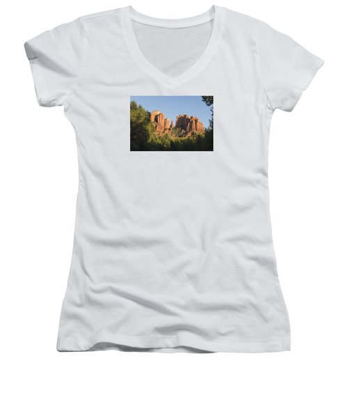 Cathedral In The Trees Women's V-Neck T-Shirt (Junior Cut) by Laura Pratt