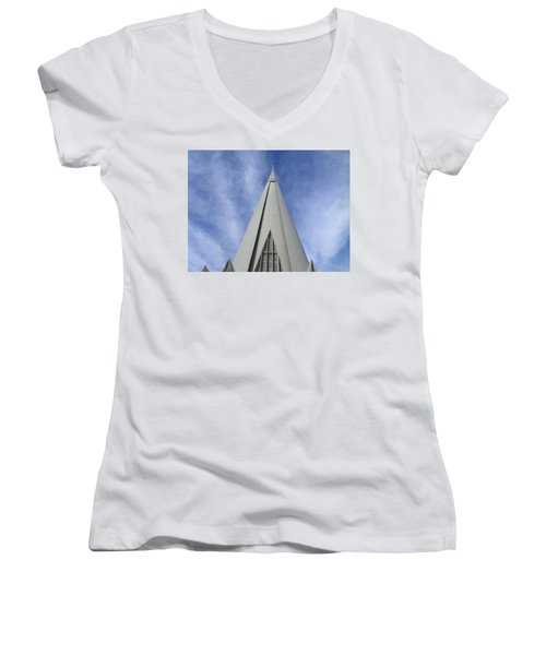Cathedral Minor Basilica Our Lady Of Glory Women's V-Neck T-Shirt (Junior Cut) by Bruna Lima