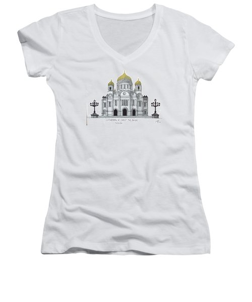 Cathedral  Of Christ The Savior - Moscow Women's V-Neck T-Shirt (Junior Cut) by Frederic Kohli