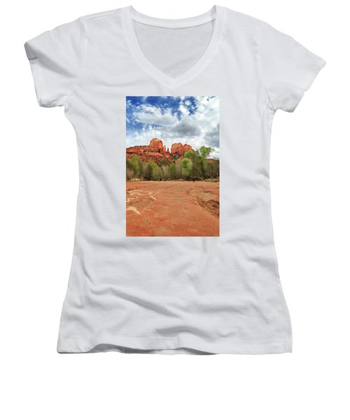 Women's V-Neck T-Shirt featuring the photograph Cathedral Rock Sedona by James Eddy