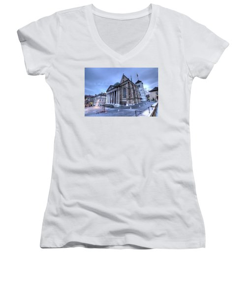 Cathedral Saint-pierre, Peter, In The Old City, Geneva, Switzerland, Hdr Women's V-Neck T-Shirt (Junior Cut) by Elenarts - Elena Duvernay photo