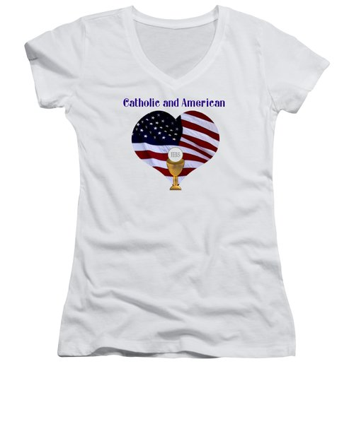 Catholic And American Flag And Holy Eucharist Women's V-Neck