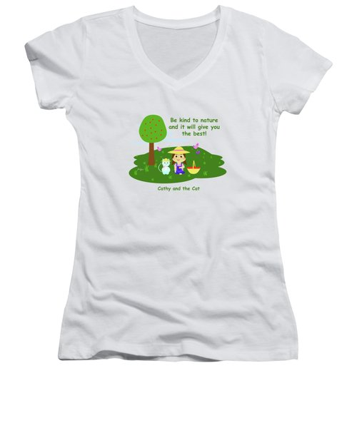Cathy And The Cat Are Kind To Nature Women's V-Neck