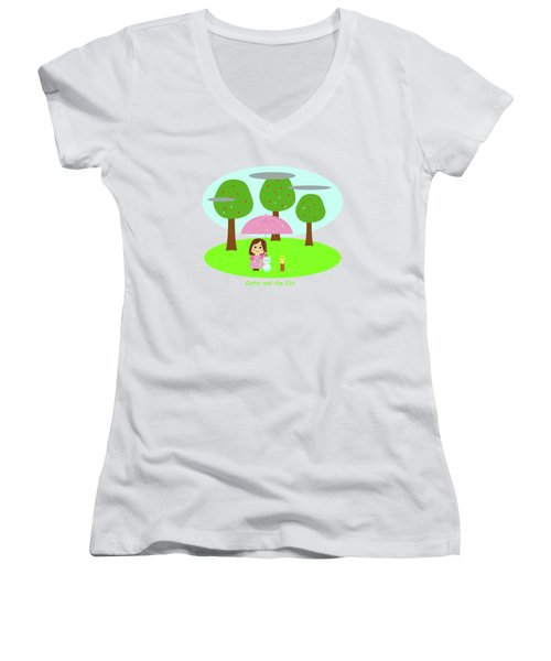 Cathy And The Cat Rainy Day Women's V-Neck