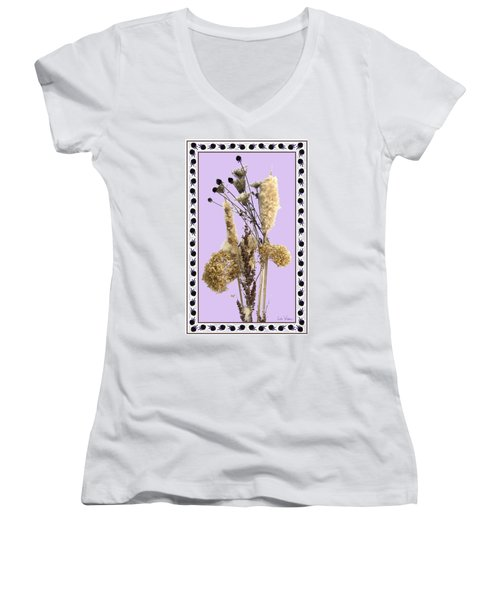 Women's V-Neck T-Shirt (Junior Cut) featuring the digital art Cattails And November Flowers by Lise Winne