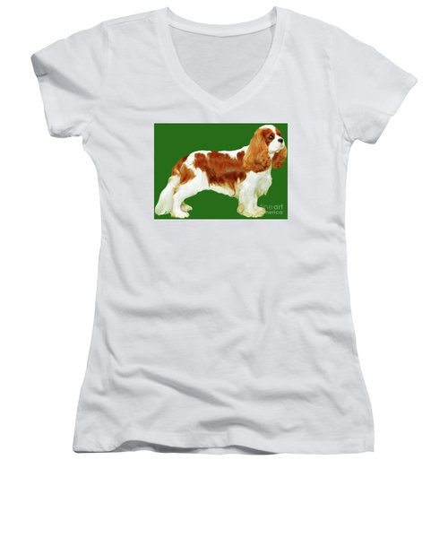 Women's V-Neck T-Shirt (Junior Cut) featuring the painting Cavalier King Charles Spaniel by Marian Cates