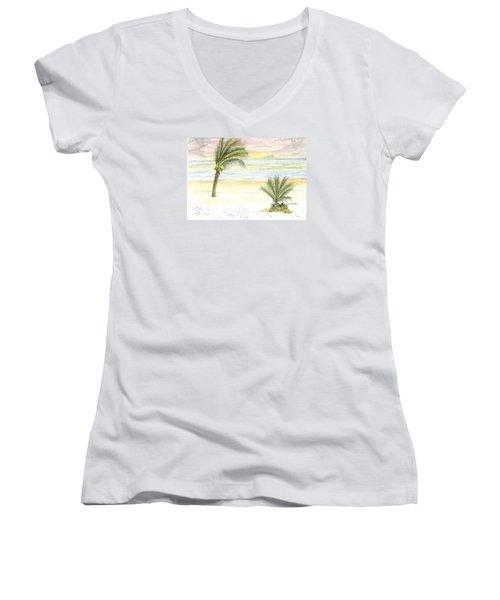 Women's V-Neck T-Shirt (Junior Cut) featuring the digital art Cayman Beach by Darren Cannell