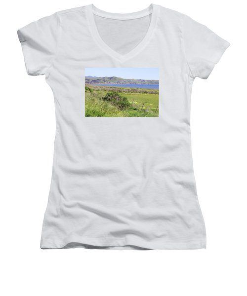 Women's V-Neck T-Shirt (Junior Cut) featuring the photograph Cayucos Coastline - California by Art Block Collections