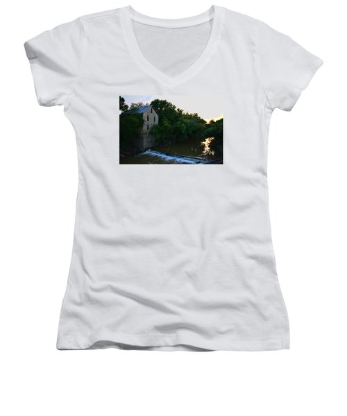 Cedar Point Mill Women's V-Neck T-Shirt (Junior Cut) by Keith Stokes