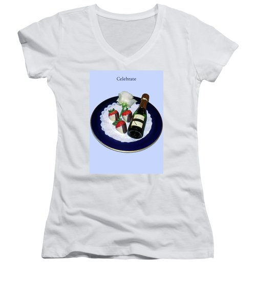 Women's V-Neck T-Shirt (Junior Cut) featuring the photograph Celebrate  by Sally Weigand