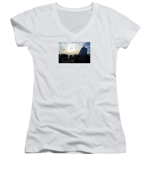 Women's V-Neck T-Shirt (Junior Cut) featuring the photograph Celebrating The Sunset by Margie Avellino