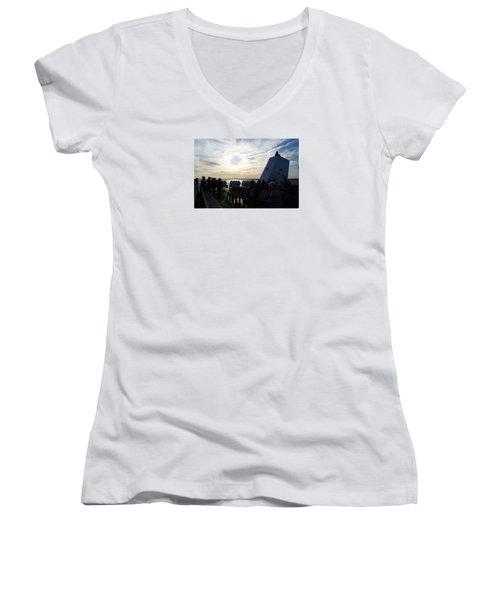 Celebrating The Sunset Women's V-Neck T-Shirt (Junior Cut)