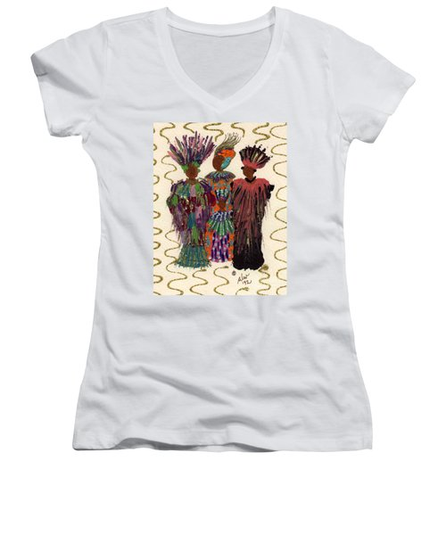 Women's V-Neck T-Shirt (Junior Cut) featuring the mixed media Celebration by Angela L Walker