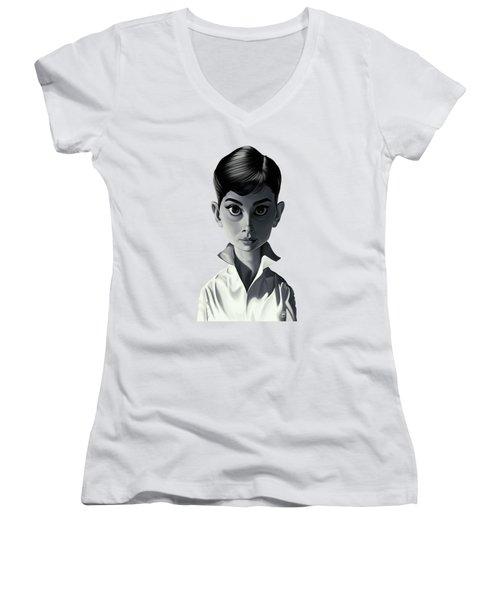 Celebrity Sunday - Audrey Hepburn Women's V-Neck (Athletic Fit)
